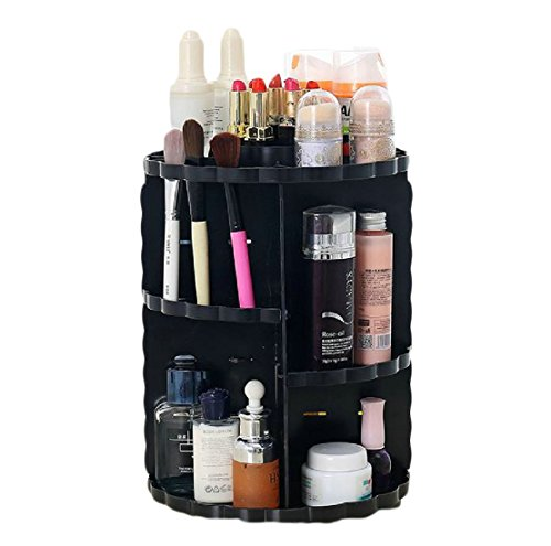 Chart Caddy Cart - Andopa Makeup Organizer Makeup and Jewelry Stylish Vanity for Organizing your Lipstick Nail Polish Makeup Brushes Set Make Up Caddy Spinning Black One Size