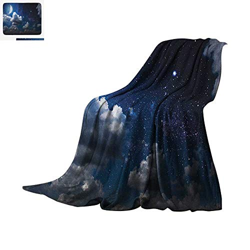 (Clouds Super Soft Lightweight Blanket Celestial Solar Night Scene Stars Moon and Clouds Heaven Place in Cosmos Theme Custom Design Cozy Flannel Blanket 80