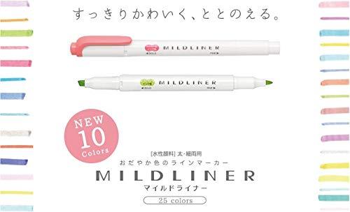ZEBRA MILDLINER Highlighter pen markers, 5-Pack (WKT7-5C / WKT7-5C-NC / WKT7-5C-RC / WKT7-N-5C / WKT7-5C-HC) 25 Color Full Range Set with Original vinyl pen case by ZEBRA MILDLINER (Image #8)