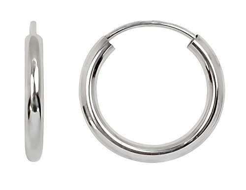 Gold Tube Earrings (14K White Gold Continuous Endless Hoop Earrings, (2mm Tube) (15mm))