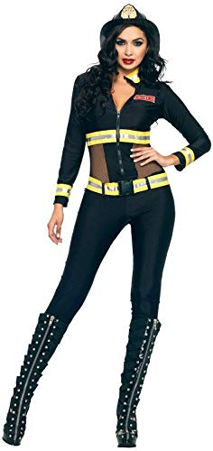 Leg Avenue Women's Black Blaze Fire Fighter Costume,