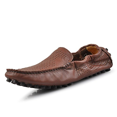 Santimon-mens Comode Scarpe Da Guida In Vera Pelle Mocassini Morsetto Mocassini Mocassini Marrone