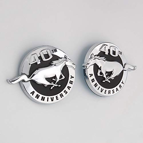 Coolandi FM-40 Pair MUSTANG 40TH ANNIVERSARY L&RFender Side Emblem Badge Sticker Decal