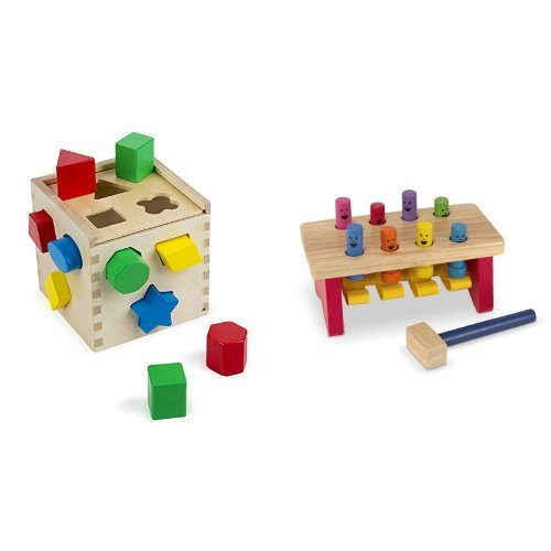 Melissa Doug Shape Sorting Cube and Deluxe Pounding Bench Bundle
