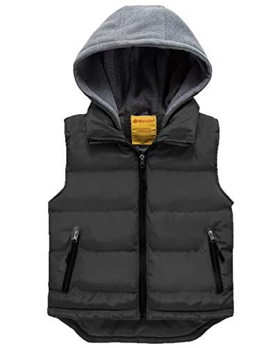 Wantdo Girl's Hooded Lightweight Puffer Vest Padded Warm Sleeveless Jacket Gilet Black 8