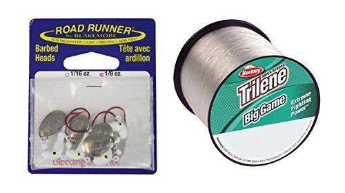 Pack of 5 Blakemore TTI Fishing Co Road Runner Bleeding Bait and Berkley Trilene Big Game Monofilament 20 lb Custom Spool bundled by Maven Gift