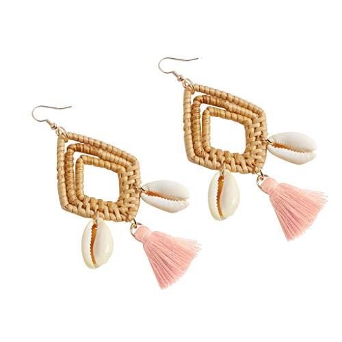 - Psunrise Pendientes Bohemian Rattan Handmade Tassel Shell Geometric Square Hollow Out Earrings Ladies Jewelry(9.5 × 4.5cm, Pink)