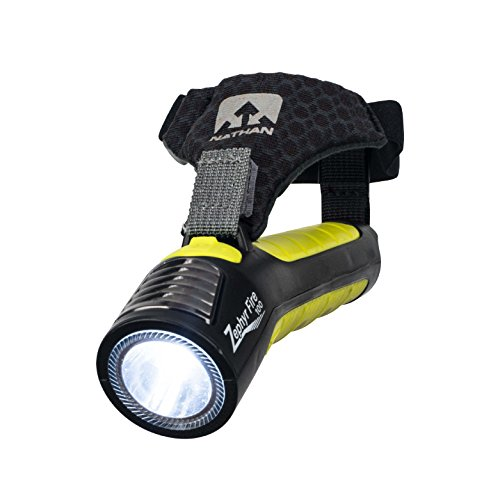 Nathan Running Flashlight. Hand Held Torch Zephyr Fire 100 with Siren. LED Light for Runners, Walkers, Cyclist, Kids, Security. Handheld Dual Front and Back Light to See and Be-Seen. Rechargeable Batt