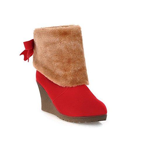 Amoonyfashion Donna Tacco Chiuso Stivali Alti In Lana Di Agnello Tacco Alto Con Fiocco E Pelliccia Ornamento Rosso