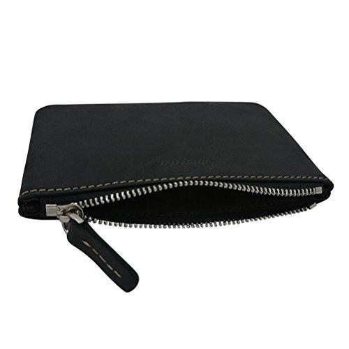 92bd72bb6eaa Men Coin Purse Pouch Fmeida Leather Slim Wallet Zipper Change Holder(Black)