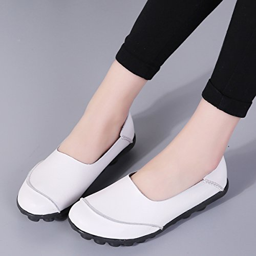 Women's Casual Loafers White Leather Cut X Shoes Out on Slip Keesky Flat XdqOEwRdx