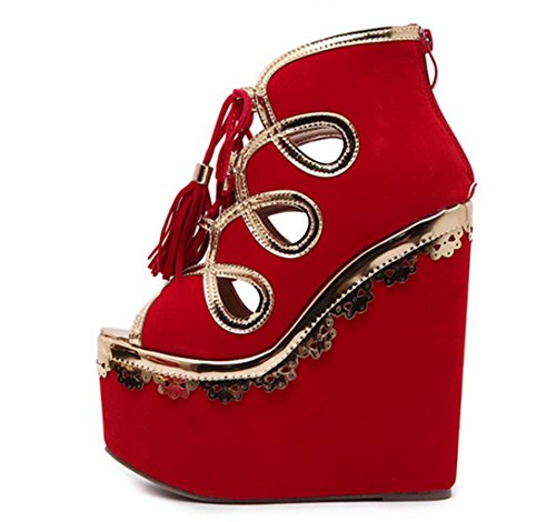 HETAO Personality Womens Peep Toe Ankle Strap Wedge Court Shoes Size Ladies Red Fashion Sexy Fish Mouth High Heel Tassel Straps Platform Sandals Girl's Gift Red stnfXmK