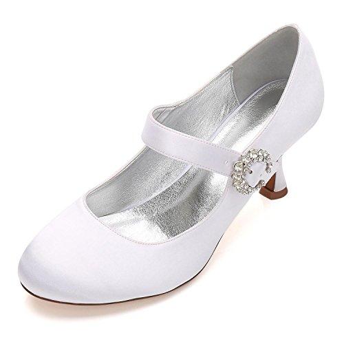 Boda Boda 17061 Dedo Satén Jane Alto Cordón White YC Las Pie Talón del Corte 26 del Hebilla Mary Mujeres Zapatos de de Nupcial L Cerrado del del Bombas La q5BX8