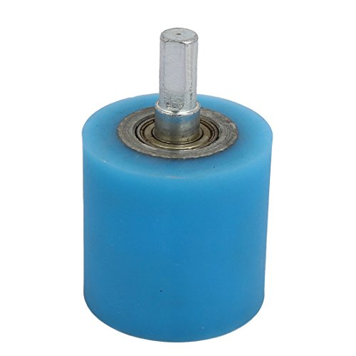 Aexit 10mm Dia Material handling Shaft 50mmx50mm Coating Machine Silicon Rubber Wheel Roller Blue Model:65as550qo640
