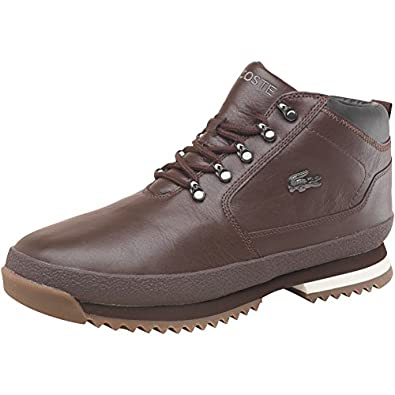 333f842b7 Lacoste Mens Upton Leather Boots Dark Brown Black  Amazon.co.uk  Shoes    Bags