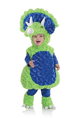 [Underwraps Baby's Triceratops Belly, Green/Blue, Medium] (Triceratops Halloween Costume)