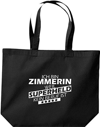 Shirtstown große Einkaufstasche, Ich bin Zimmerin, weil Superheld kein Beruf ist, schwarz