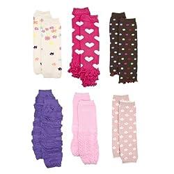 Baby Leg Warmers Set of 6: Zara's Pink and Purple Girl Leggings