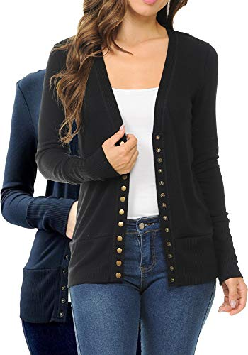 ClothingAve. Women's Variety-Pack Snap Button Sweater Cardigan with Ribbed Detail (2 Pack- Black, Midnight, X-Large)
