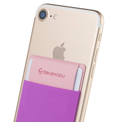 Sinjimoru Credit Card Holder for Back of Phone, Stick on Wallet Functioning as Phone Card Holder, Phone Card Wallet, iPhone Card Holder/Credit Card Case for Cell Phone. Sinji Pouch Flap, Violet.