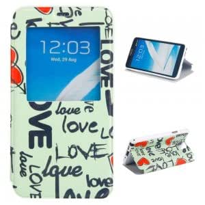 Simplicity Plastic + PU Leather Protective Case with Heart + LOVE Pattern for Samsung Note3