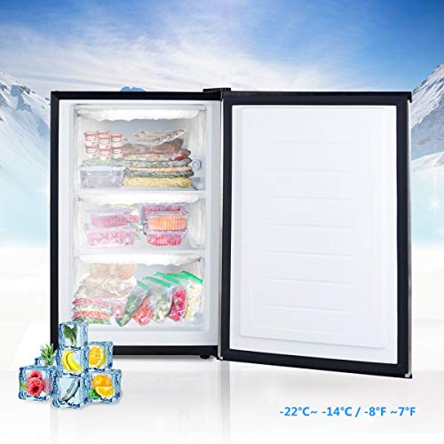 COSTWAY Compact Single Door Upright Freezer - Mini Size with Stainless Steel Door - 3.0 CU FT Capacity - Adjustable by COSTWAY (Image #4)