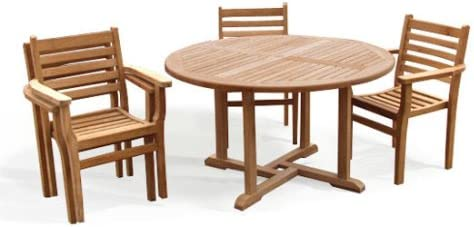 Jati Teak Round Garden Table And 4 Chairs Set Outdoor Wooden Garden Set With Stacking Chairs Brand, Quality & Value