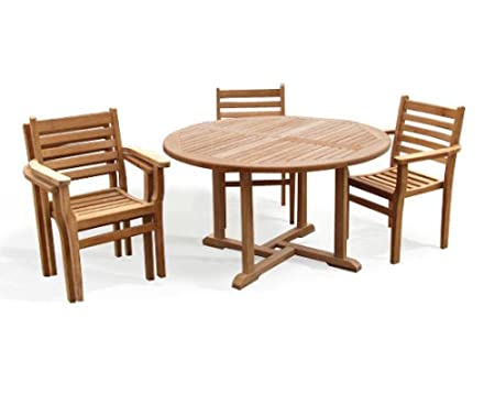 Teak Round Garden Table And 4 Chairs Set   Outdoor Wooden Garden Set With  Stacking Chairs   Jati Brand, Quality U0026 Value: Amazon.co.uk: Garden U0026  Outdoors