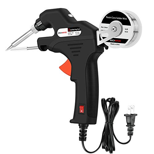 ArchMage Fast-Heating Soldering Gun 110V 15W Energy Efficient Automatic Feed Welding Tool with Rosin Core Solder Wire for Welding Circuit Board, Appliance Repair, Home DIY and More