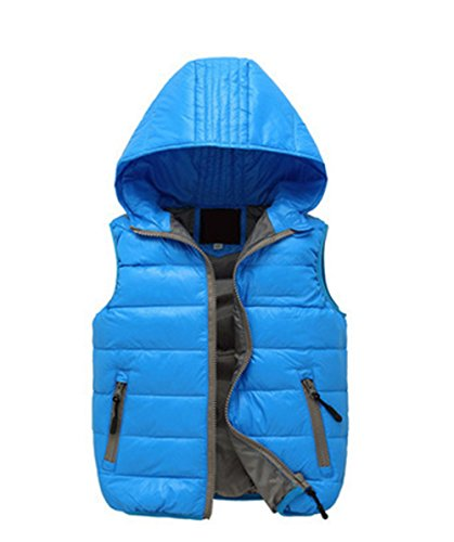 Lightweight Hooded Chic Wadded Vest Jacket Blue Winter Lemonkids;® Children Kids Xqw11B