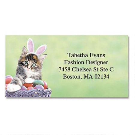 (Personalized Easter Kitten Address Labels - Set of 144 Self-Adhesive, Flat-Sheet rectangle labels)