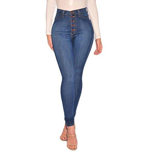 (VEZAD High Waisted Skinny Denim Jeans Women Stretch Slim Pants Calf Jeans)