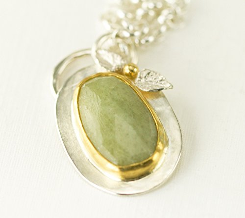 Green Sapphire Necklace - 22k Gold and Sterling