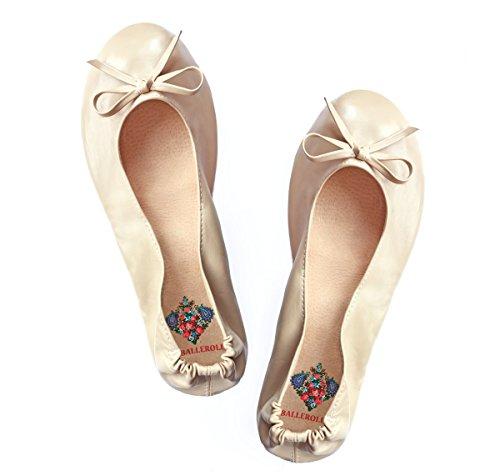 Faltbare Ballerinas BALLEROLLAS - Afterparty Schuhe - Wechselschuhe, Mix aus Echtleder und Kunstleder, beige Gr. 41-42