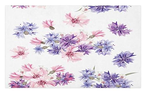 Lunarable Flower Doormat, Floral Seamless Vector Pattern with Floral Watercolored Romantic Design Image, Decorative Polyester Floor Mat with Non-Skid Backing, 30 W X 18 L Inches, Purple and Pink