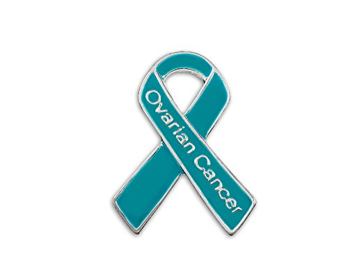 25 Pack Ovarian Cancer Awareness Teal Ribbon Pins (25 Pins - Wholesale) ()