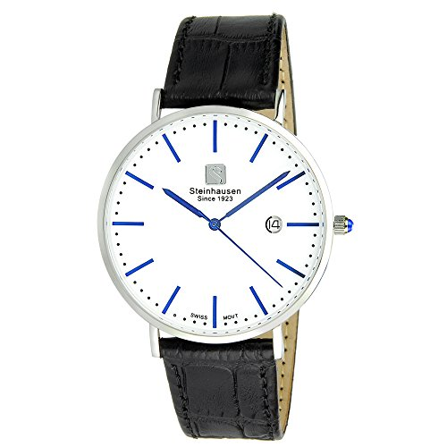 - Steinhausen S0520 Burgdorf Men's Dress Watch (Silver / Blue / Black Leather)