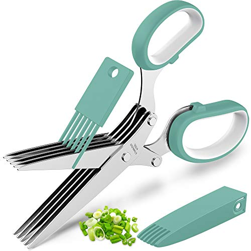 Updated 2021 Herb Scissors Set – Cool Kitchen Gadgets for Cutting Fresh Garden Herbs – Herb Cutter Shears with 5 Blades…