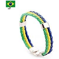 Naisidier Bracelet Sport Football Fan Bracelet Cheerleading Bracelet Durable Femme Homme Non-toxique RUSIA FIFA WORLD CUP 2018 Drapeau Brésilien