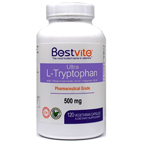L-Tryptophan 500mg with B3 & B6 (120 Vegetarian Capsules) – No Fillers – No Stearates