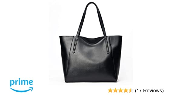 e67617fb1536 Amazon.com  CHERRY CHICK Women s Genuine Leather Large Purse Classic Hand-Shoulder  Bag Daily Tote (Matt Black-9816)  Clothing