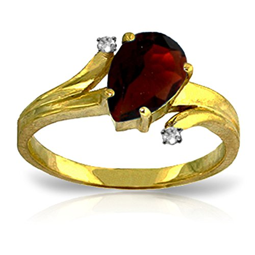 14k Yellow Gold Pear-shaped Garnet with Diamonds Ring - Size 9.5