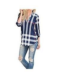 Shinekoo® Women V-neck 3/4 Sleeve Plaid Long Top Blouse Ladies Loose Shirt