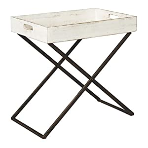 Signature Design by Ashley - Janfield Convertible Tray Table - Casual - Antique White