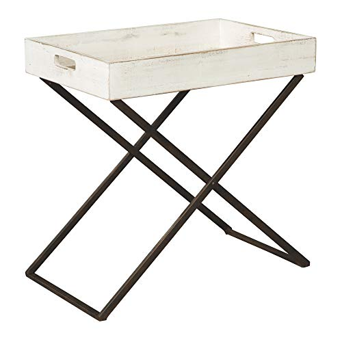 Ashley Furniture Signature Design - Janfield Tray Accent Table - Vintage - Antique White Wood Top - Antique Black Metal Base (Antique Table Tray)