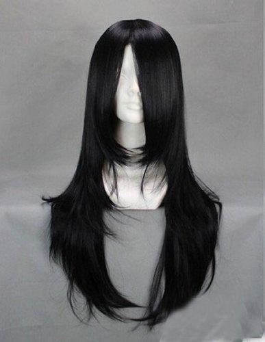 E-busienss Kunieda Aoi Kuchiki Byakuya Orochimaru Hyuuga Neji 65cm Black Medium Long Culy Anime Costume Cosplay Wig