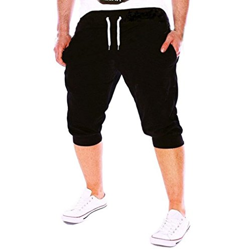 iZHH Summer Men Gym Workout Jogging Shorts Pants Fit Elastic Casual Sportswear(Black,32) ()