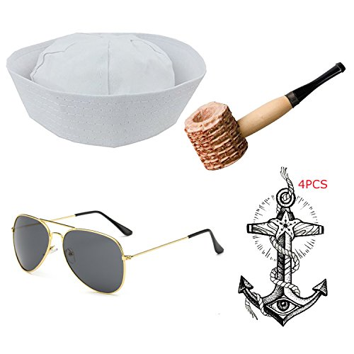 Vintage Aviator Costume (eforpretty Yacht Captain & Sailor Costume Set - Hat,Corn Cob Pipe,Aviator Sunglasses,Vintage Anchor Temporary Tattoo (Onesize, S1))