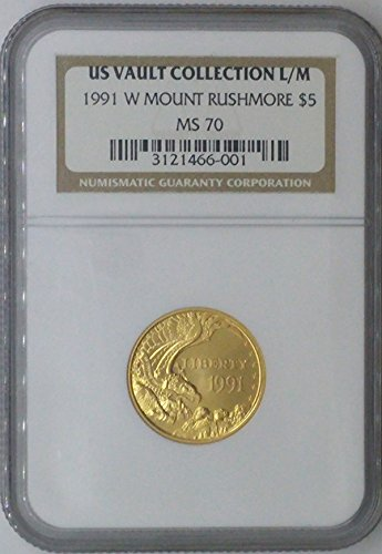 1995 W Commemorative Set $5.00 MS-70 NGC US Vault Collection 22k $5 – Mount Rushmore – NGC MS70