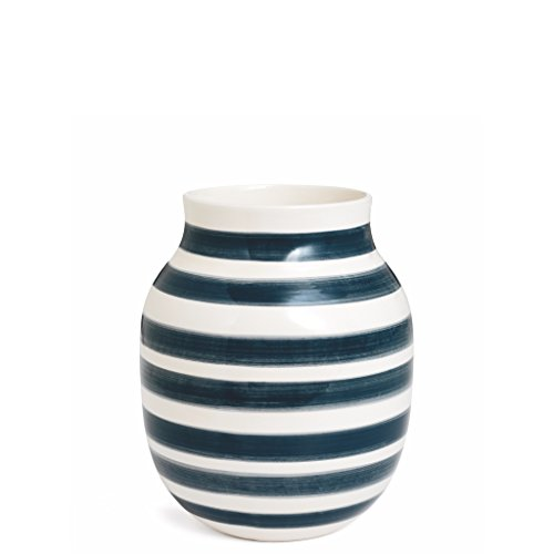 Kahler Omaggio Ceramic Vase - Height 200mm (7.9 In.) Diameter 165mm (6.5 In.) - Handmade Faience (White / Granite Gray) (Hand Made Vase compare prices)